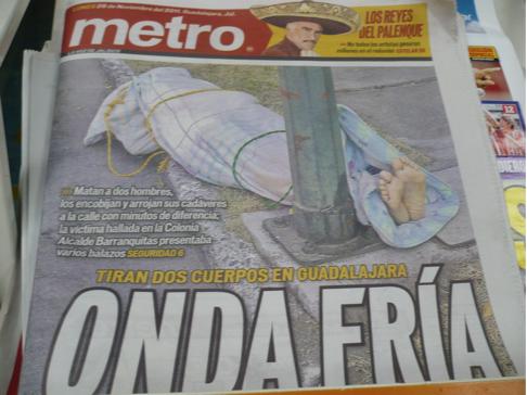Foto del periódico Metro, voz de Jalisco, del lunes, 28 de noviembre.