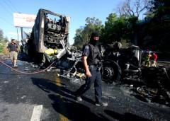 Uno de los narcobloqueos en la ciudad de Guadalajara tras la detención de un líder del narco.
