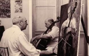 Luis Quintanilla pinta el retrato de Pablo Casals.