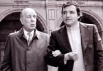 Borges y Capistrán en el edificio de San Ildefonso, poco antes de la grabación del programa Encuentros dirigido por Álvaro Gálvez y Fuentes, durante el primer viaje de Borges a México en 1971. Foto © Paulina Lavista.