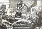 Portugueses y franceses aplicaban a los corsarios españoles el suplicio de la rueda. Grabado de Mary Byfield, del siglo XIX.