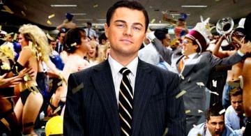 Leonardo Di Caprio en Lobos de Wall Street.